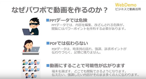 パワーポイントを動画に出力する 動画マニュアル webdemo